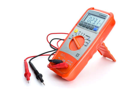 Digital multimeter isolated on the white background. Side view