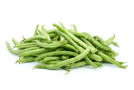Pile of green bean pods isolated on the white background