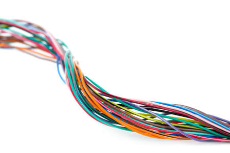 Close-up shot of different colored wires isolated on the white background. Shallow DOF