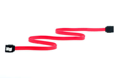 sata: Red SATA cable isolated on the white background