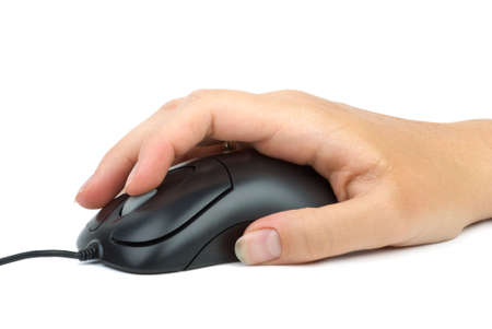 Computer mouse in hand. Index finger over the scroll wheel. Isolated on the white background Stock Photo