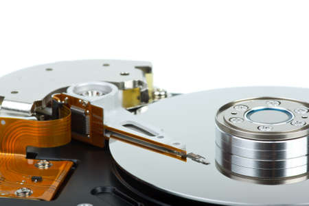 hard drive crash: Hdd drive from inside isolated on the white background. Focus point - heads unit