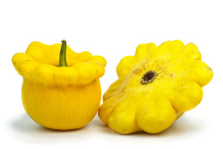 cymbling: Two scallop squash vegetables isolated on the white background Stock Photo