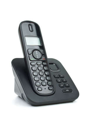 cordless phone: Modern black digital cordless phone with answering machine isolated on the white background Stock Photo
