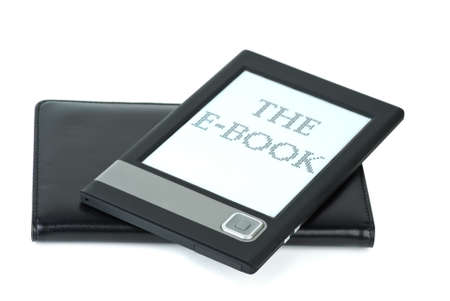 ebook cover: E-book device and cover isolated on the white background Stock Photo