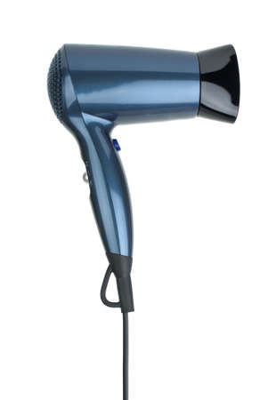 Compact blue hairdryer isolated on the white background