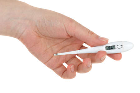 Hand with digital thermometer displaying high temperature (38.6 celsius degree). Isolated on the white background Stock Photo - 6460930