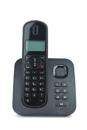 answering phone: Black tel�fono inal�mbrico aislado en el fondo blanco  Foto de archivo