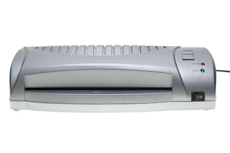 Small cheap laminator  isolated on the white background Stock Photo