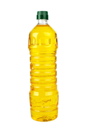 Plastic bottle with sunflower (corn or olive) oil  isolated on the white background