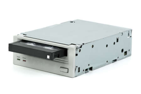 Internal tape drive unit with cassette inserted  isolated on the white background photo