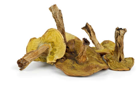 cepe: Few dried cepe mushrooms isolated on the white background Stock Photo