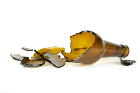 beer bottle: Shattered brown beer bottle  isolated on the white background