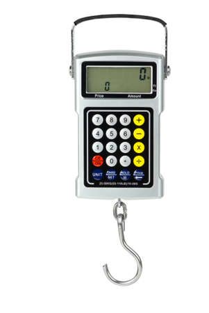 weigher: Digital fishhook scales with built-in calculator  isolated on the white background