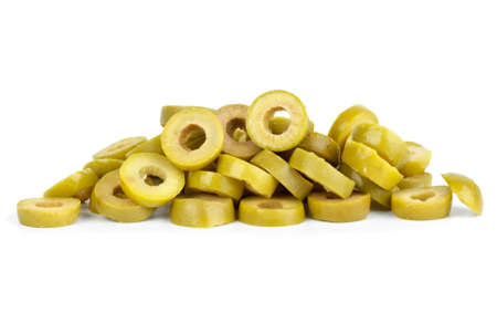 Small pile of sliced green olives  isolated on the white background