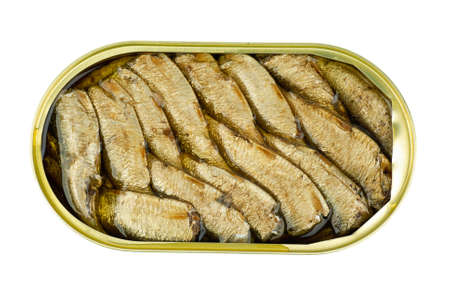 conserved: Opened tin can with conserved in oil sprat fish  isolated on the white background. View from above