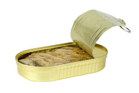 conserved: Half-opened tin can with conserved sprat fish  isolated on the white background