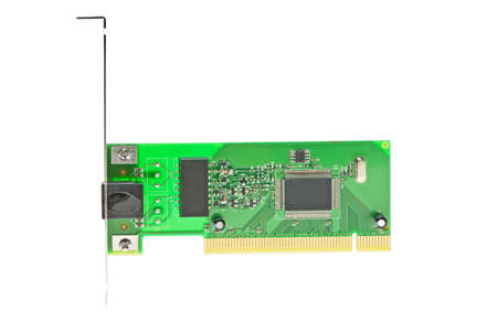 isdn: ISDN (or LAN ethernet) PCI adapter isolated on the white background Stock Photo