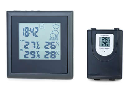 Modern digital weather station with external RF sensor  isolated on the white background