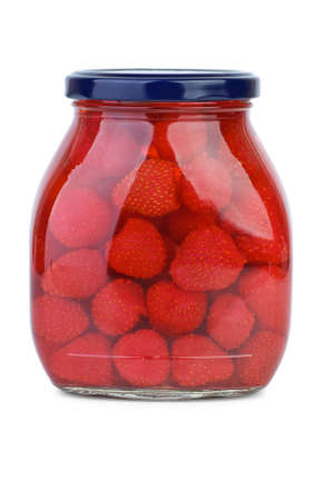 conserved: Strawberries conserved in the glass jar  isolated on the white background Stock Photo