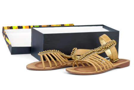 heel strap: Pair of brown leather female sandals near opened box  isolated on the white background Stock Photo