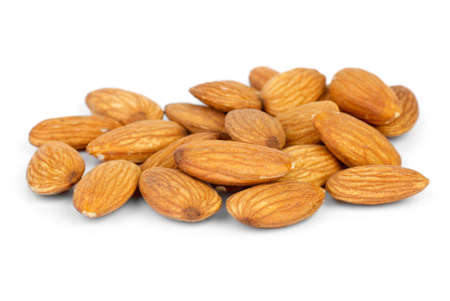 Some almonds  isolated on the white background