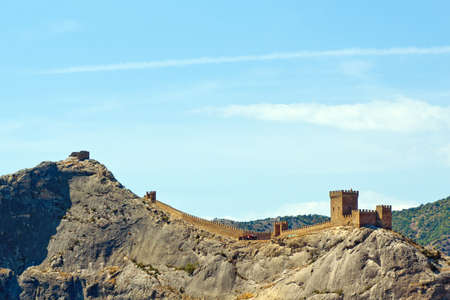 Genoese fortress just after the dawn. Crimea. Sudak photo