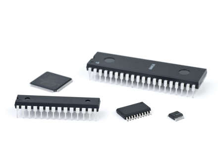 Few microchips  isolated on the white background Stock Photo