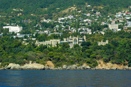 voroncov: Alupka town and Vorontsov palace. View from the sea. Crimea. Ukraine