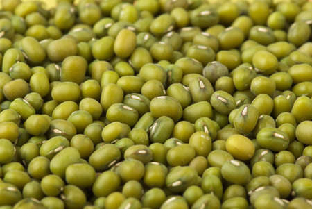 munggo: Abstract background  Green mung beans  Shallow DOF  Focus point in middle part of image