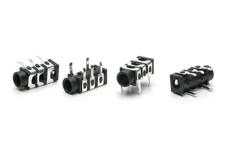 minijack: Four female connectors for 3 5mm jacks  isolated on the white background Stock Photo