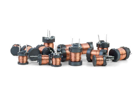 inductive: Some tiny inductors  isolated on the white background