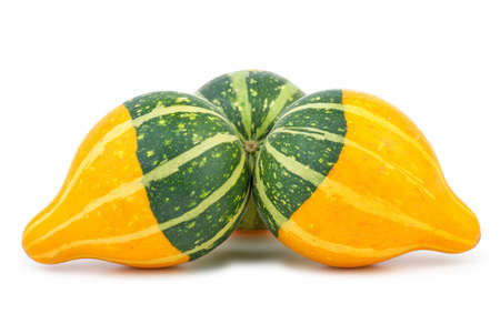 cucurbit: Three yellow-green fancy pumpkins isolated on the white background Stock Photo