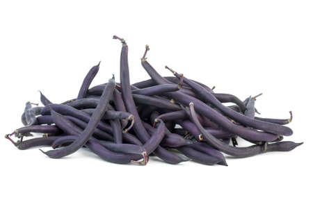 Purple Wax Snap Beans on the white background Stock Photo