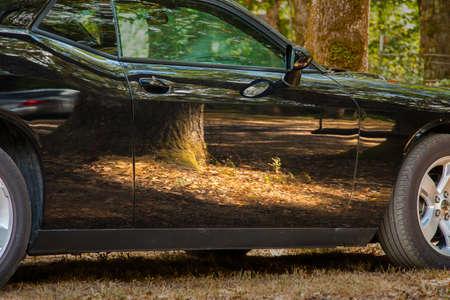 shiny car: Reflection on car Stock Photo