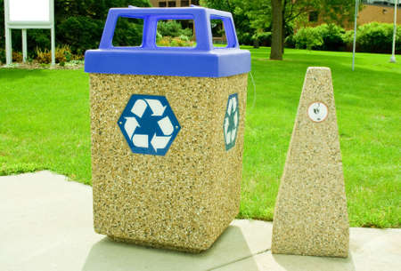 receptacle: outdoor recycle bin and cigarette butt receptacle Stock Photo