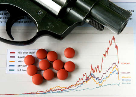 revolver and an overdose of medication on a declining stock market chart