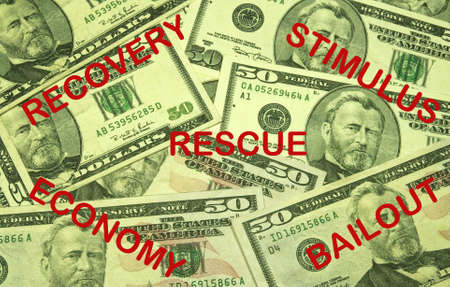 currency background with recovery,stimulus,rescue,economy,and bailout imprinted