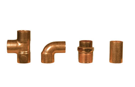 four different copper fittings isolated at this size photo