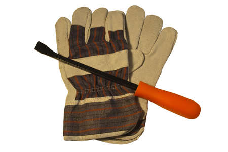 pry: gloves and pry bar