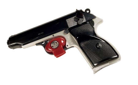 trigger: red trigger lock on a pistol