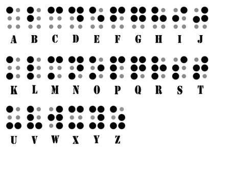 the braille alphabet for visually handicapped people Stockfoto