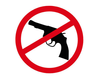banned: sign indicating that all guns are banned Stock Photo
