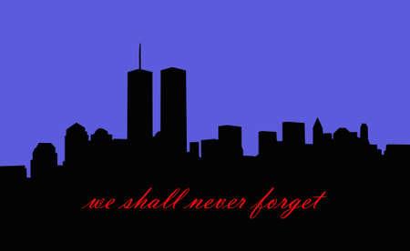 Silueta de horizonte de la ciudad de Nueva york con torres gemelas Foto de archivo - 7293152