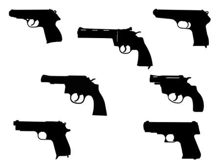 pistol and revolver silhouettes isolated on a white background
