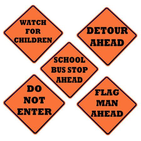 白で隔離されるオレンジ色の警告サイン コレクション 写真素材