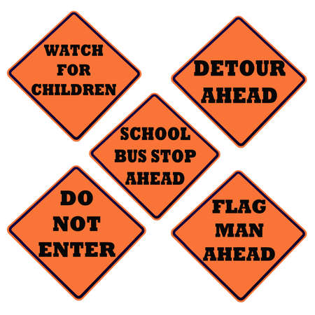 orange caution sign collection isolated on white Stock Photo - 7341353