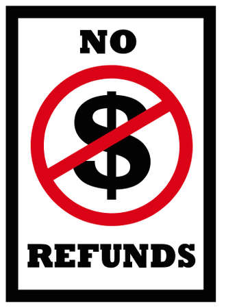 sign indicating no refunds  Stockfoto