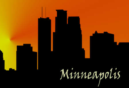 city building: silhouette of minneapolis city skyline at sunset Stock Photo