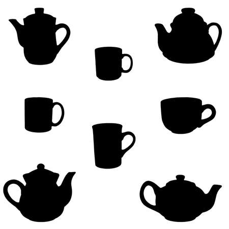 teapots and cups silhouettes isolated on white Stock Photo